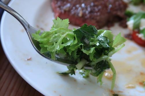 Bissen vom grünen Salat