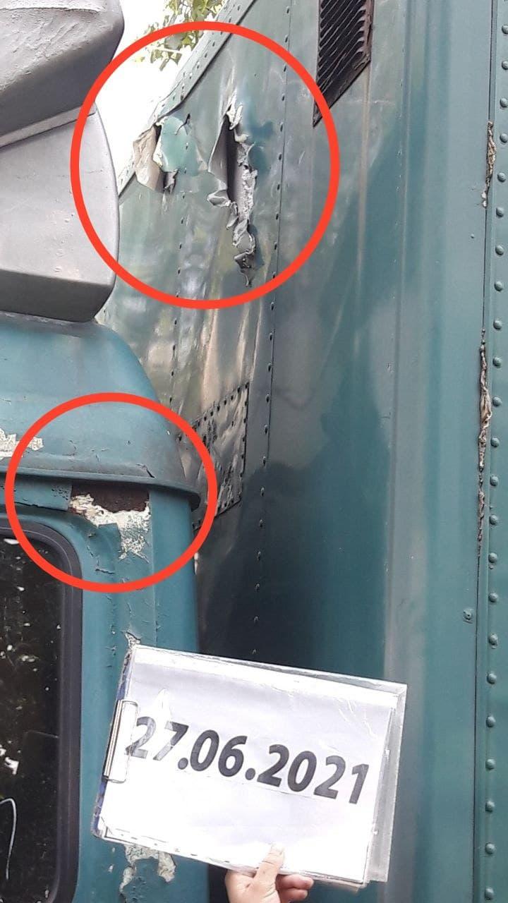 Camion endommagé à Gorlovka