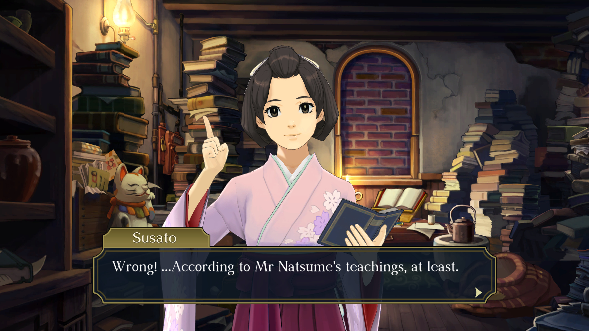 """The Great Ace Attorney Chronicles - Susato says: """"Wrong! ...According to Mr Natsume's teachings, at least."""""""