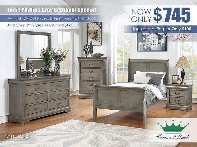 Louis Philip Gray Youth Bedroom Set_B3500