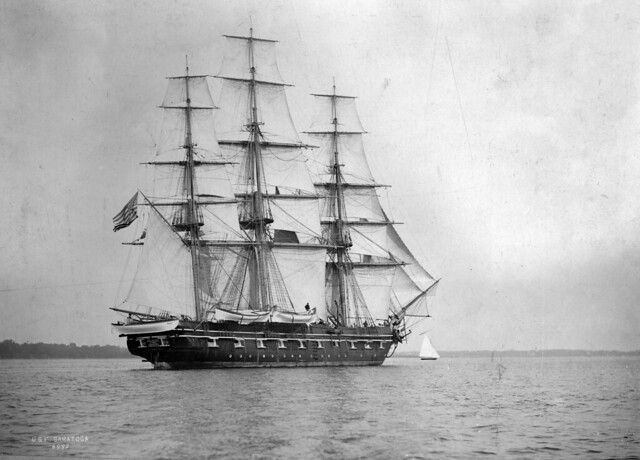 USS Saratoga under full sail off Plymouth, England, summer 1897.