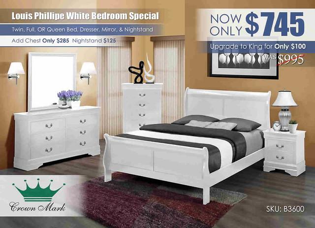 Louis Philip White Queen Bedroom_B3600