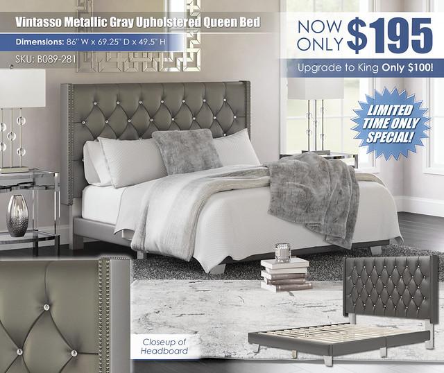 Vintasso Metallic Gray Upholstered Queen Bed_B089-281