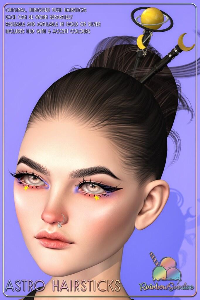 *Rainbow Sundae* Astro Hairsticks