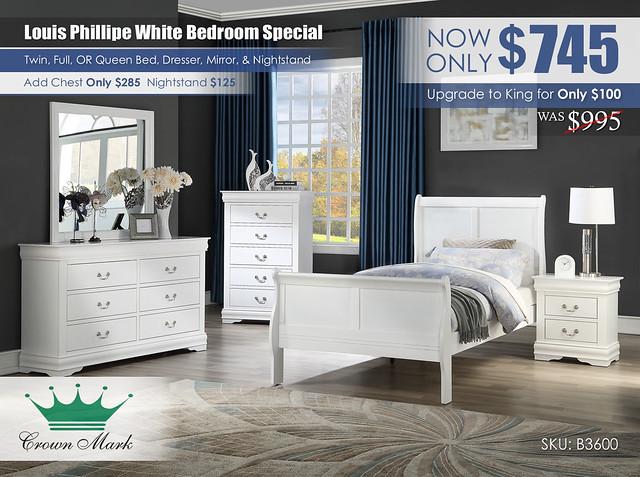 Louis Philip Youth White Bedroom Set_B3600