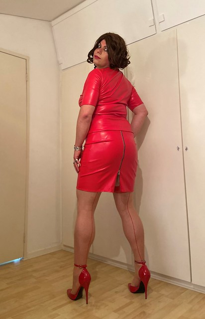 red leather and seams