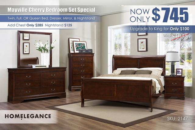 Mayville Cherry Queen Bedroom Set Special_2147_Homelegance