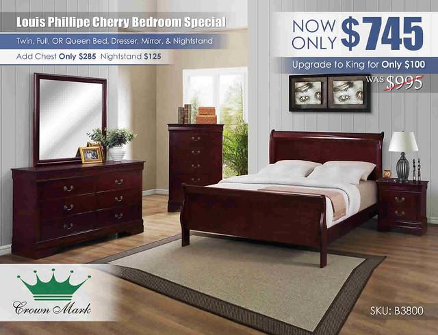 Louis Philip Cherry Queen Bedroom_B3800