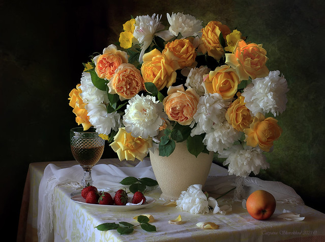 Still life with a bouquet of roses and peonies