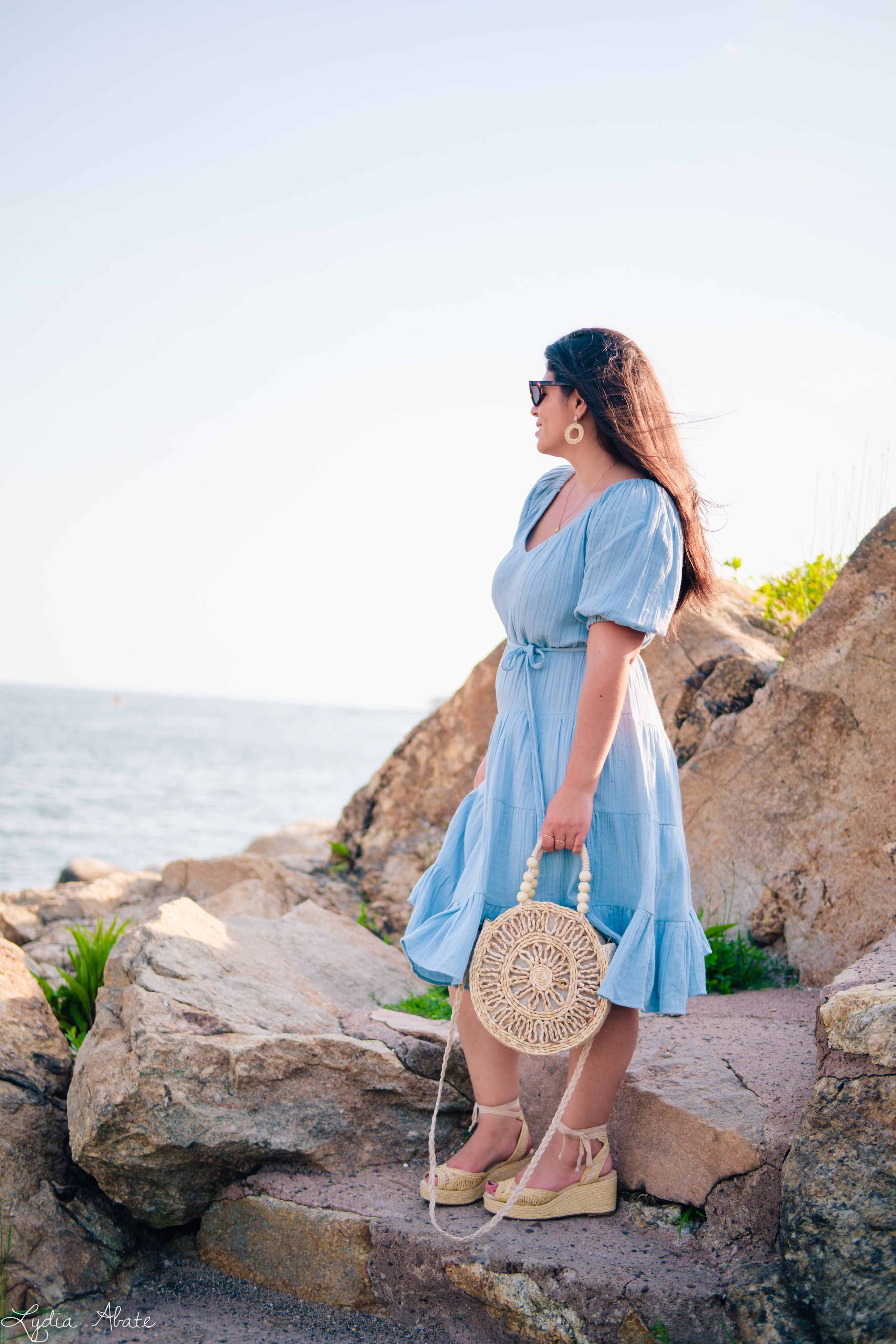 blue puff sleeve dress, raffia earrings, 4CT-3.jpg