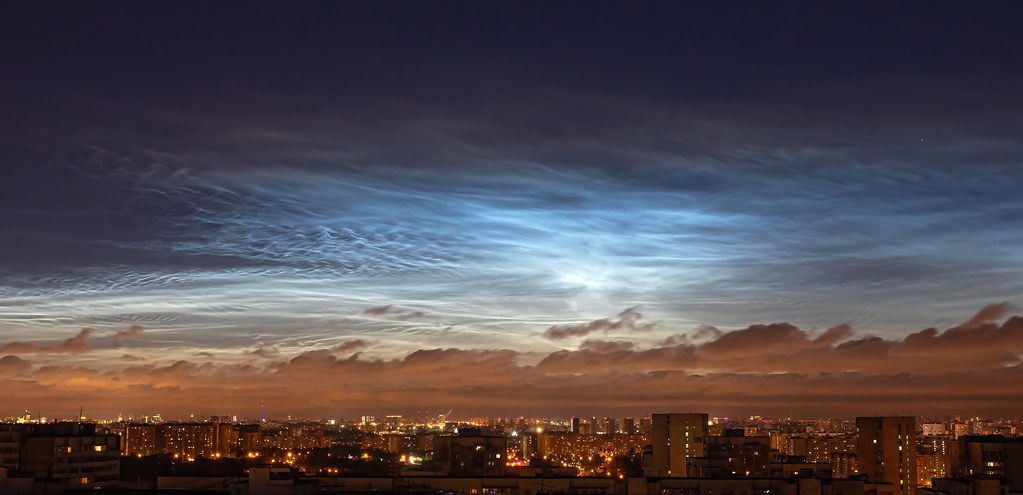 Silvery clouds over Moscow