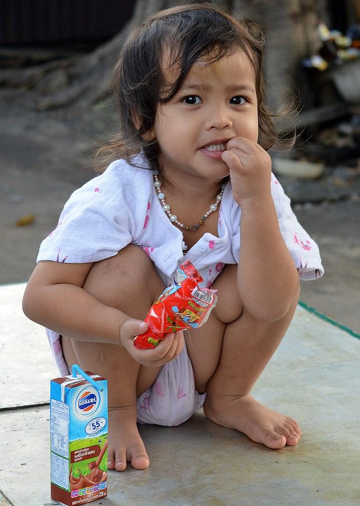 squatting snack girl