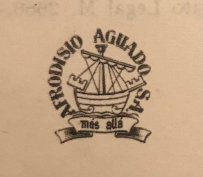 "Sello de Afrodisio Aguado S.A. con el lema ""más allá"""