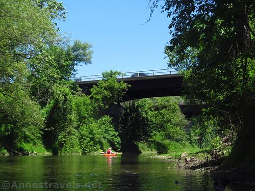 Paddling under the I-390 bridges on Honeoye Creek, New York