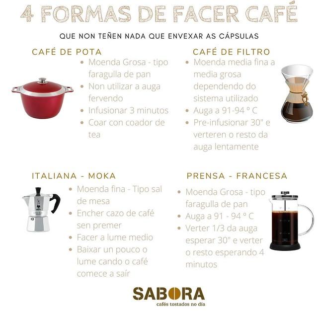 formas de facer café que. non envexan nada as cápsulas de café