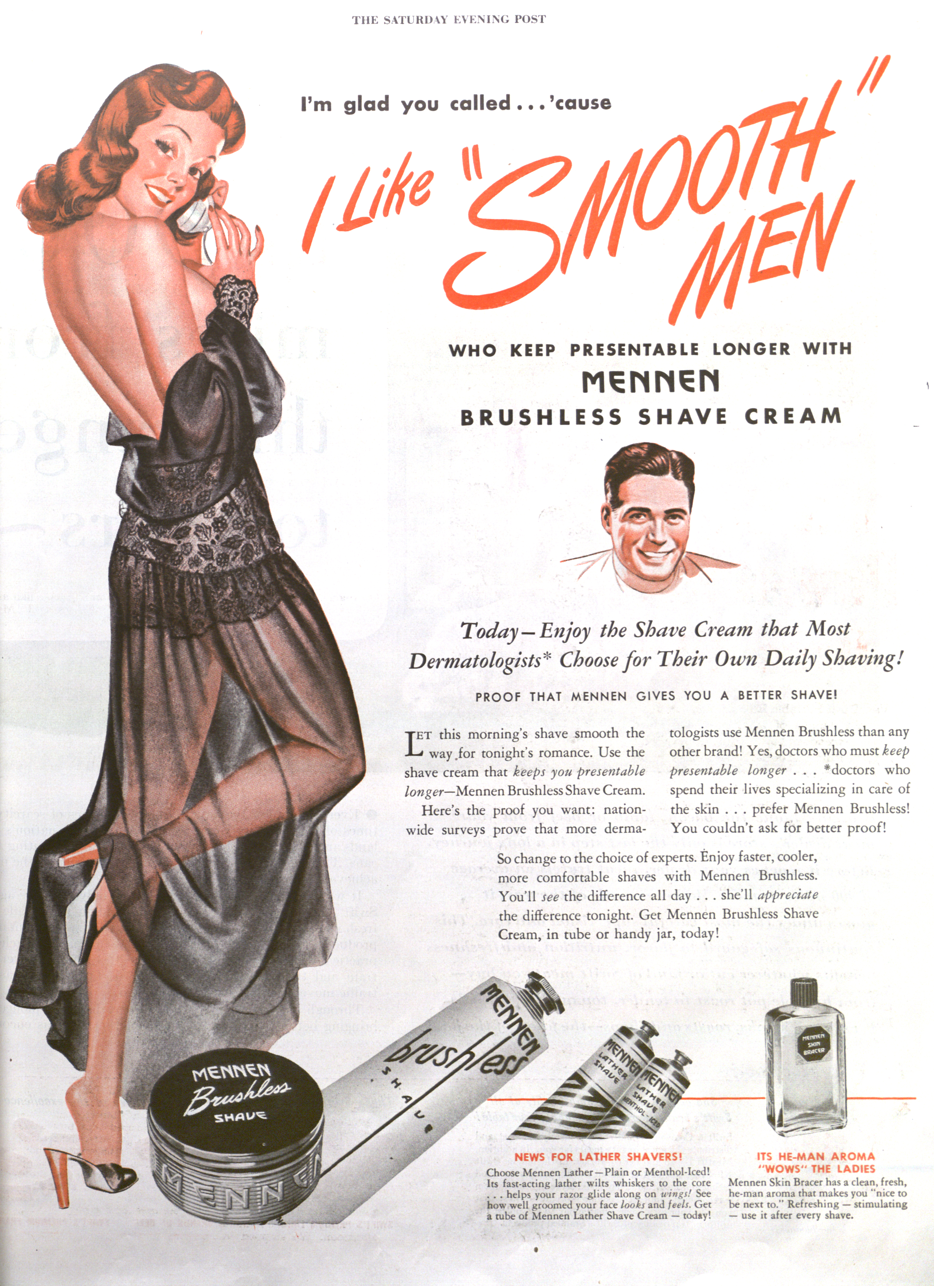Mennen Brushless Shave Cream - published in The Saturday Evening Post - October 5, 1946