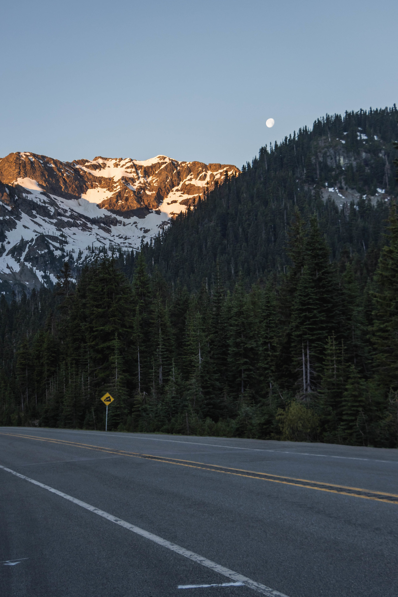 Rainy Peak and the moon above Rainy Pass