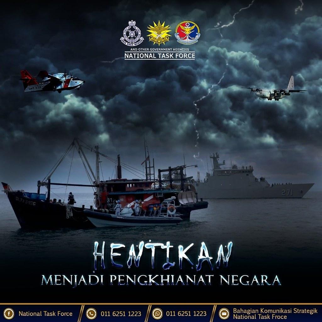 馬來西亞國家特工隊於 2021 年 6 月 20 日,也就是世界難民日在其社交媒體平台上發放此海報。海報中的馬來文標語寫著「停止成為叛國者」,而當中圖像是海事執法人員在涉嫌有偷渡外國人士的漁船上進行搜查的情景。此為筆者自行存儲的副本。