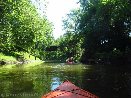 Kayaking up Honeoye Creek from the Genesee River toward the rail bridge, West Rush, New York