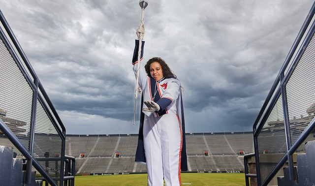 Brianna Jarvis getting ready to spike a band mace.