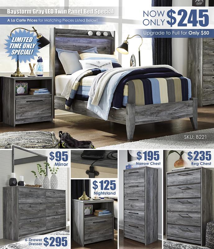 Baystorm Gray LED Twin Panel Bed Special_A La Carte_B221
