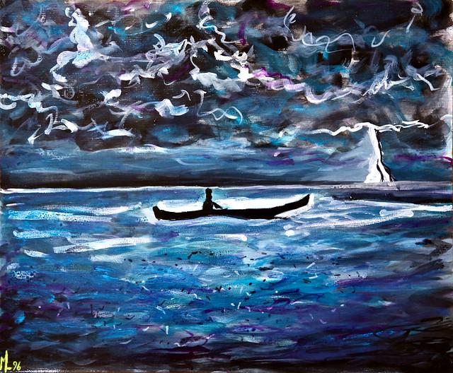 La barque sous l'orage