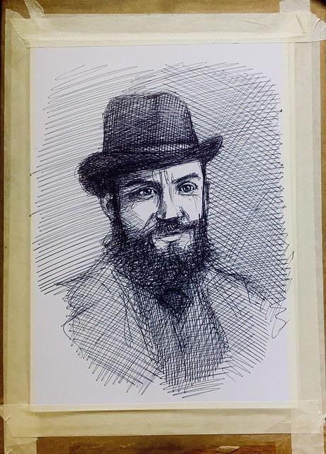 George Bernard Shaw. 1856-1950. Irish Playwright. Critic, political Activist, Polemistic. Ballpoint pen only portrait drawing by jmsw on card.