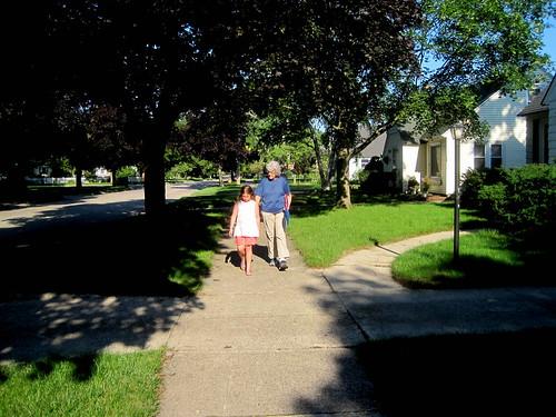 morning walk with grandkids