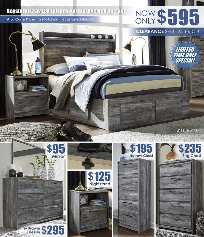 Baystorm Gray LED Full or Twin Storage Bed Special_A La Carte_B221