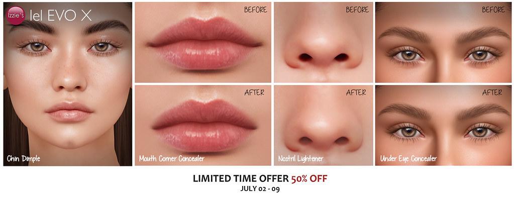 Evo X Chin Dimple, Mouth Corner Concealer, Nostril Lightener & Under Eye Concealer