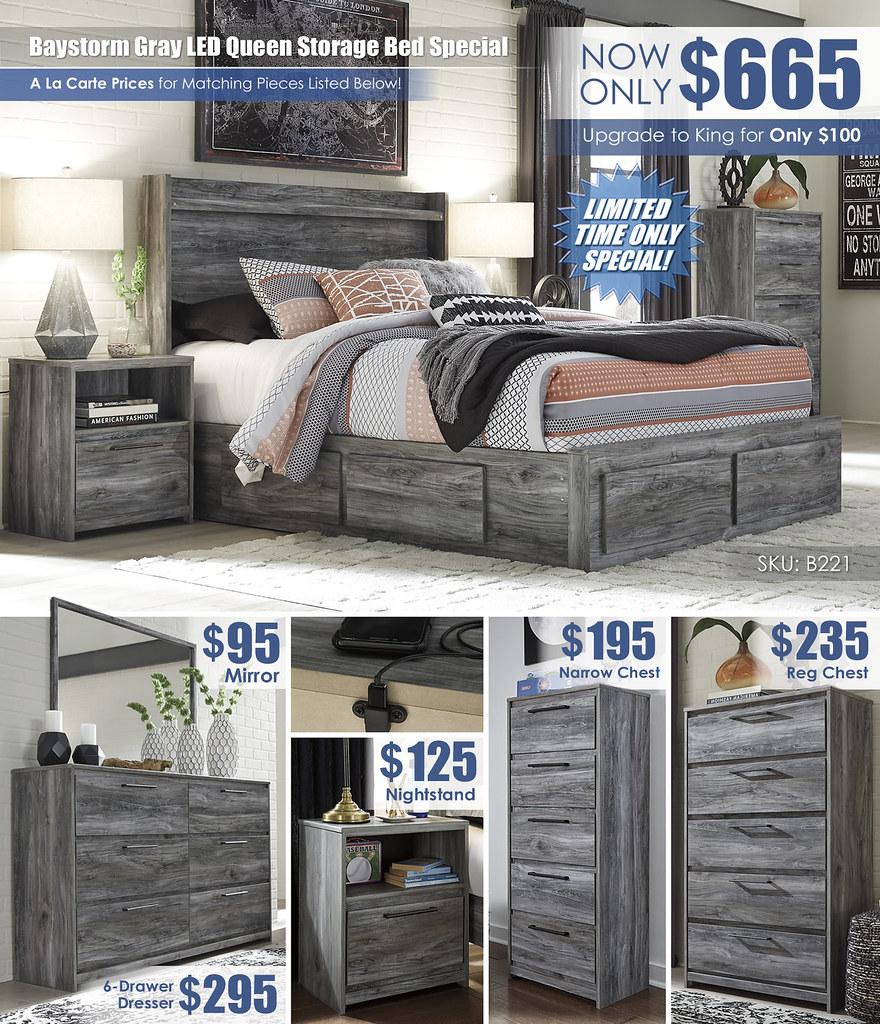 Baystorm Gray LED Queen Storage Bed Special_A La Carte_B221