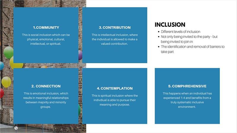 A visual describing key five pillars that lead to embedding inclusion