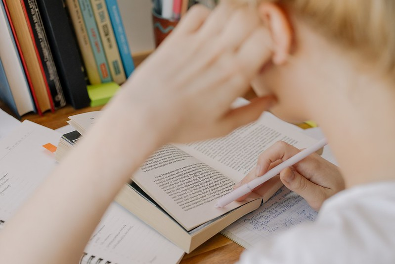 A student studying, reading a book