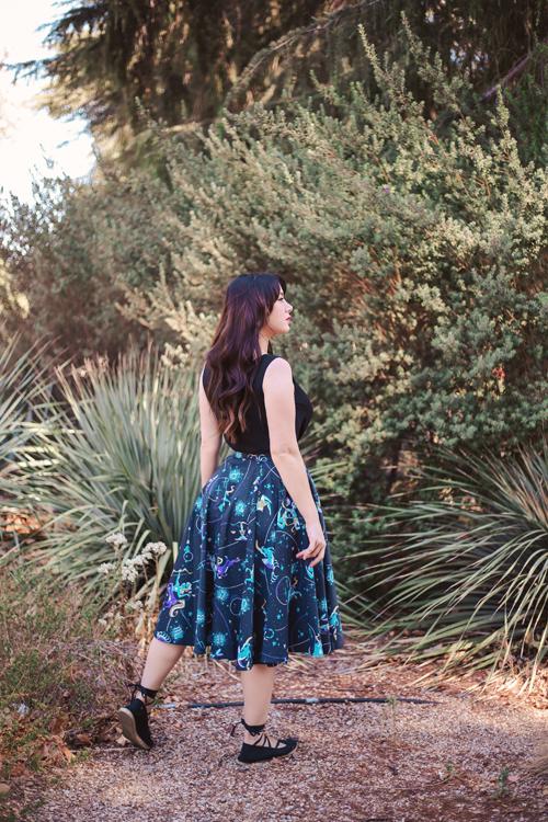 Kitschy Witch Designs Stargazer Box Pleat Circle Skirt