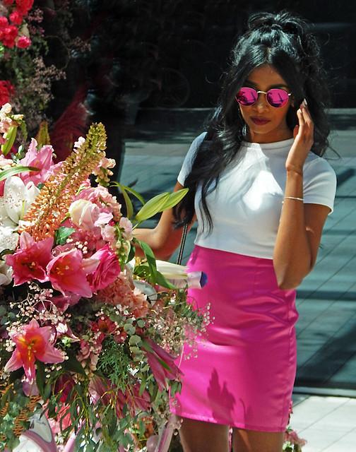 Fleurs de Ville: Rosé, a display of pink flower arrangements in Downtown Vancouver