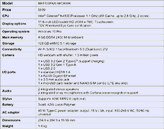 Specifications for the Asus BR1100 Education Laptop.