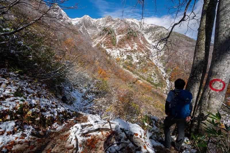 雪が降った雨飾山