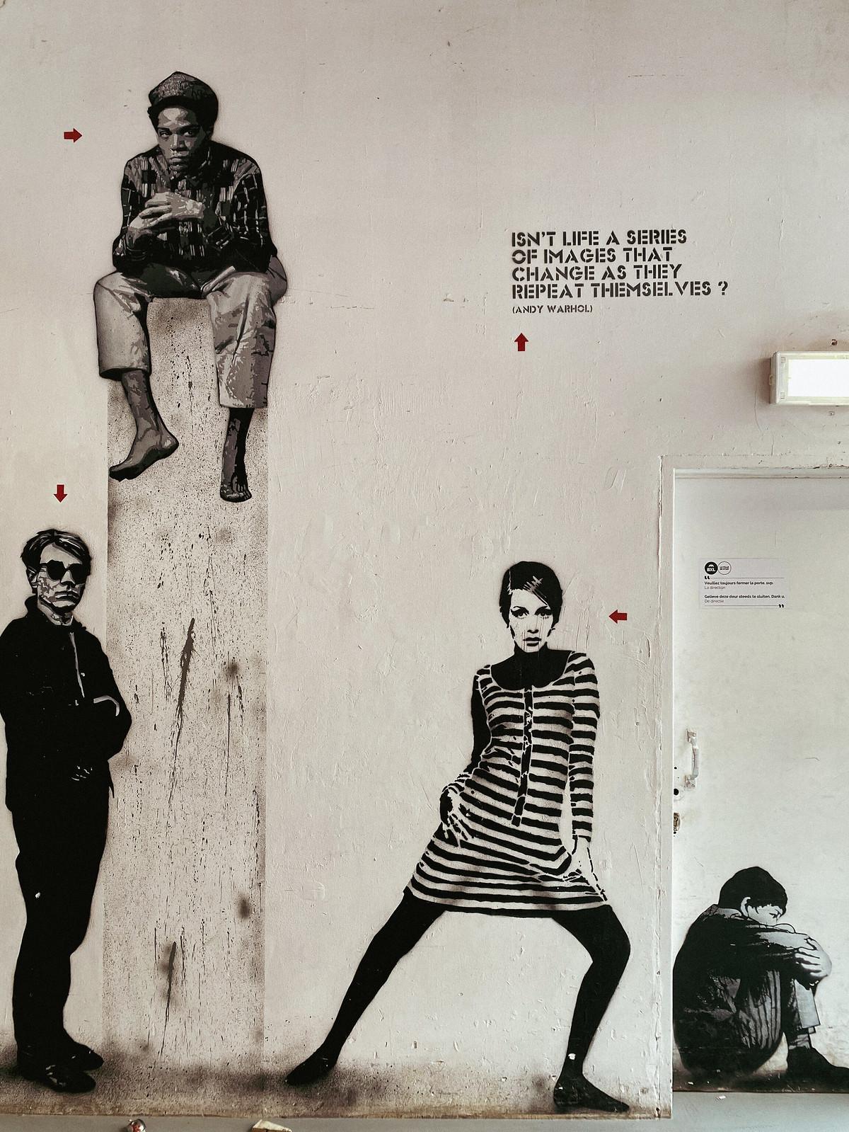 Warhol, Basquiat, Twiggy and Kid by Jef Aérosol