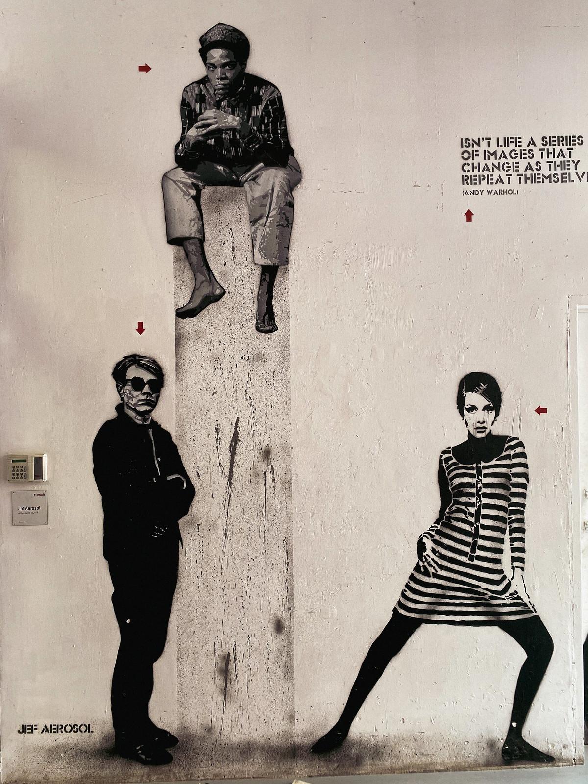 Warhol, Basquiat & Twiggy by Jef Aérosol