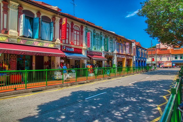 Traditional shop houses on Buffalo Road in Little India in Singapore