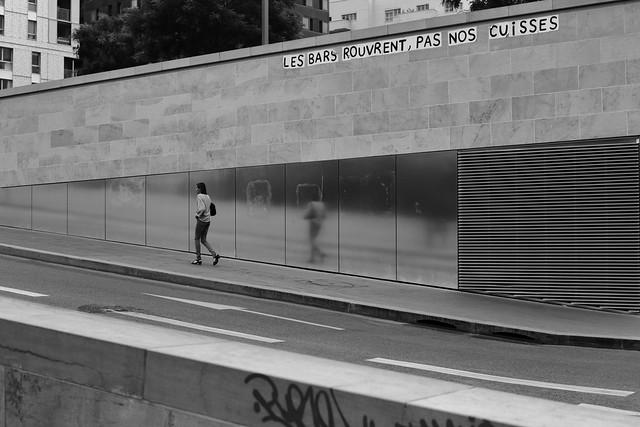 Along the reflecting wall