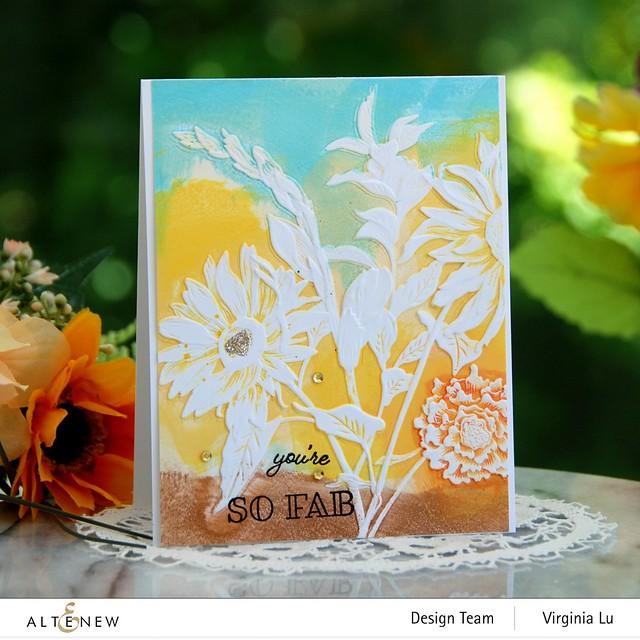 Altenew-Pressed Flowers 3D Embossing Folder-Gardenia Duo Stamp Set -001