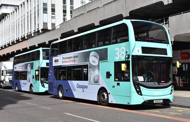 First Glasgow Alexander Denns Enviro 400 MMC`s 34379 and 34375 UEFA Euro 2020 Shuttle