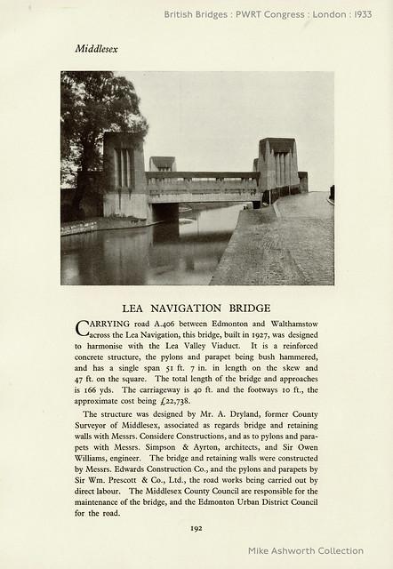 Lea Navigation Bridge, Middlesex - British Bridges : Public Works, Roads and Transport Congress, London, 1933
