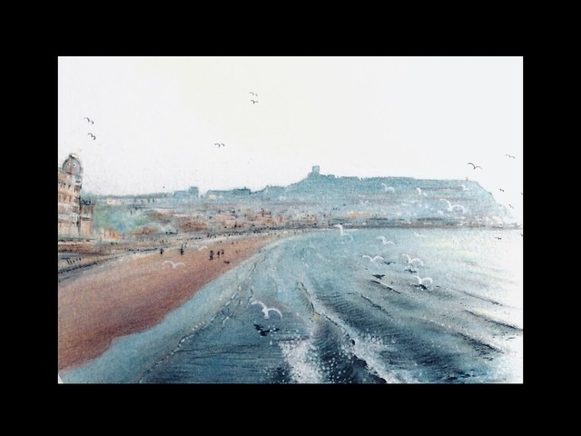 Impression of Scarborough sea front. Coloured pencil drawing by jmsw on card,