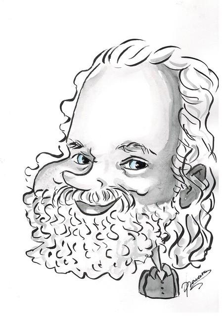 Caricature of Jan Theuninck by Francesca de Nivelles