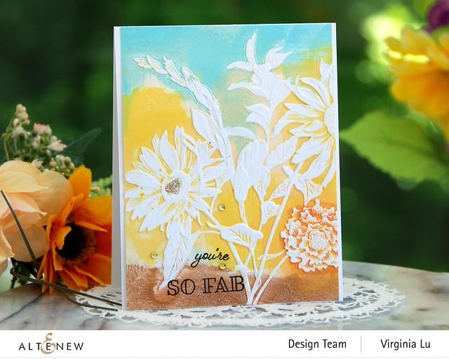 Altenew-Pressed Flowers 3D Embossing Folder-Gardenia Duo Stamp Set