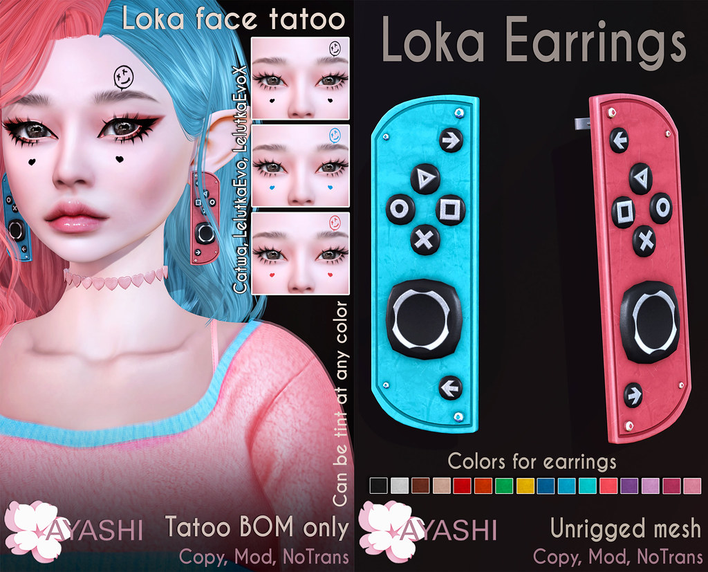 [^.^Ayashi^.^] Loka earrings and face tatoo  special for FaMESHed