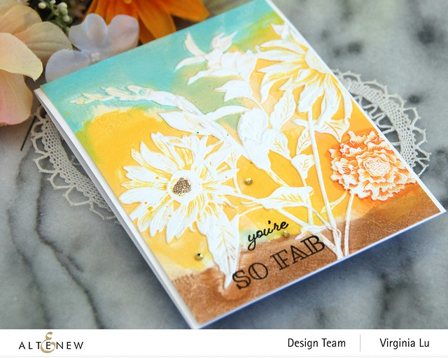 Altenew-Pressed Flowers 3D Embossing Folder-Gardenia Duo Stamp Set -002