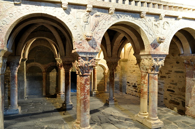 Tribune-jubé, XIIe siècle, prieuré Ste Marie de Serrabona, XIe siècle, Boule d'Amont, Pyrénées orientales, Roussillon, Occitanie, France.